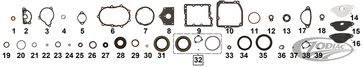 TRANSMISSION GASKET & SEALS FOR 1936-1986 4 SPEED BIG TWINS