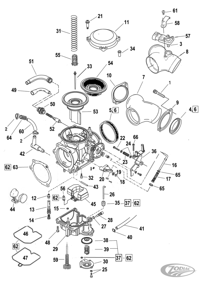 keihin cv carburetor parts - zodiac  zodiac