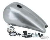 "ONE PIECE 3"" STRETCHED STEEL GAS TANK WITH AERO LOCKING GAS CAP FOR SOFTAILS THRU 1999"