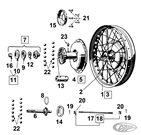 FRONT WHEEL & HUB PARTS 45CI SOLO MODELS